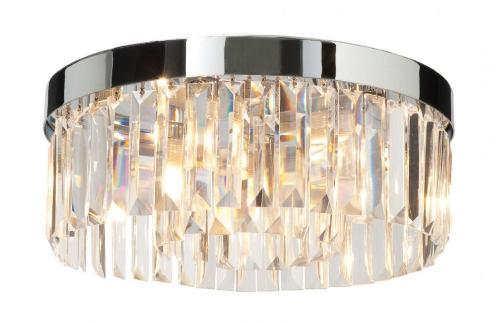 Chrome effect plate & clear crystal (k9) glass detail Flush IP44 Bathroom Light 35612 by Endon